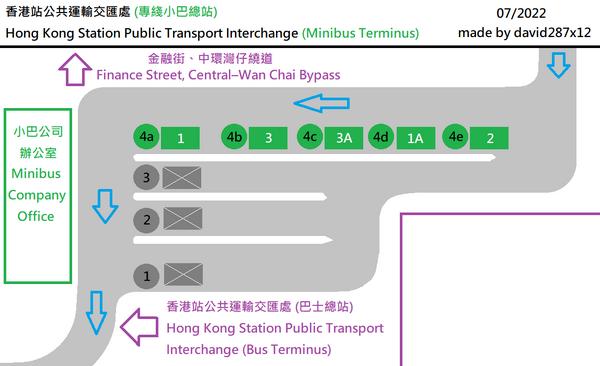 中環 (香港站) 公共運輸交匯處(專綫小巴總站)平面圖