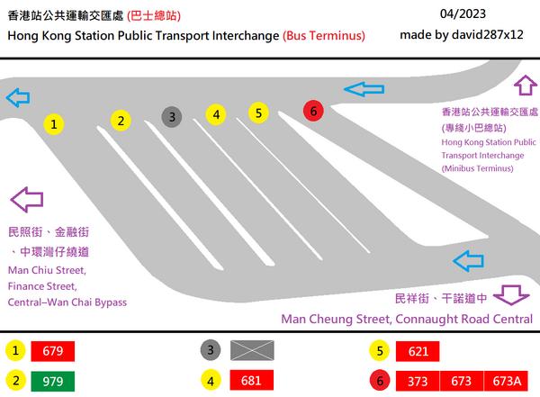 中環 (香港站) 公共運輸交匯處(巴士總站)平面圖