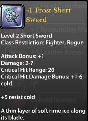 1 Frost Short Sword