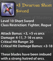 3 Dwarven Short Sword