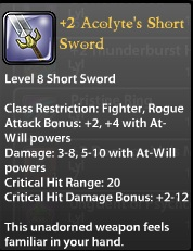 2 Acolyte's Short Sword