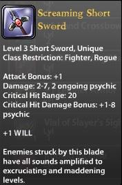 Screaming Short Sword