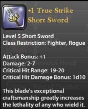 1 True Strike Short Sword
