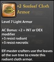 2 Sunleaf Cloth Armor