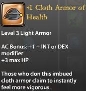 1 Cloth Armor of Health