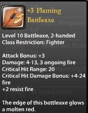 3 Flaming Battleaxe