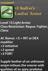3 Stalker's Leather Armor 30 ad 1500 gp