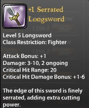 1 Serrated Longsword