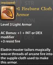 1 Fireburst Cloth Armor