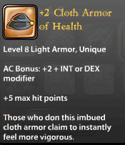 2 Cloth Armor of Health