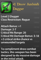 1 Drow Ambush Dagger