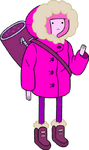 Princess Bubblegum in snow parka carrying bag