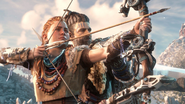Aloy preparing to shoot an arrow