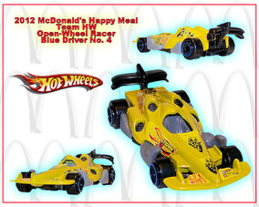 2012 McDonalds Happy Meal Team HW Open-Wheel Racer Blue Driver no. 4