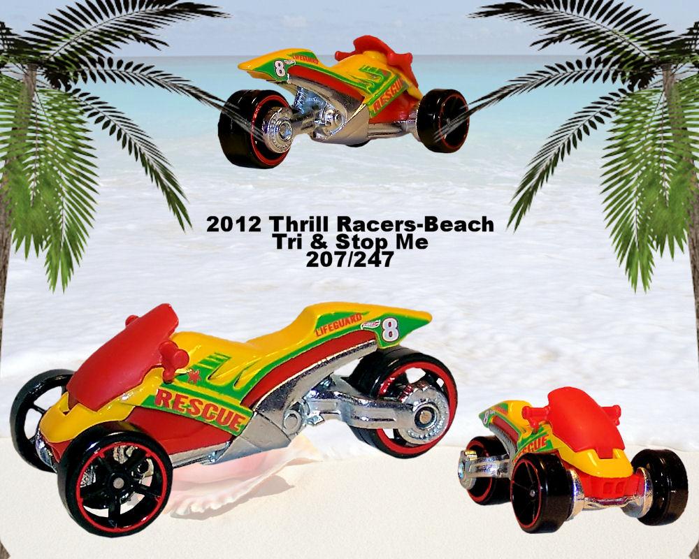HOT WHEELS 2012 THRILL RACERS BEACH #2//5 TRI /& STOP ME MOTORCYCLE HOTWHEELS HW