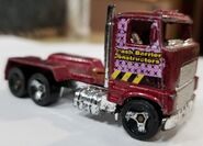 1997-8 Ford Stake Bed Truck Maroon with pink Crash Brrier Consturction backed with pink