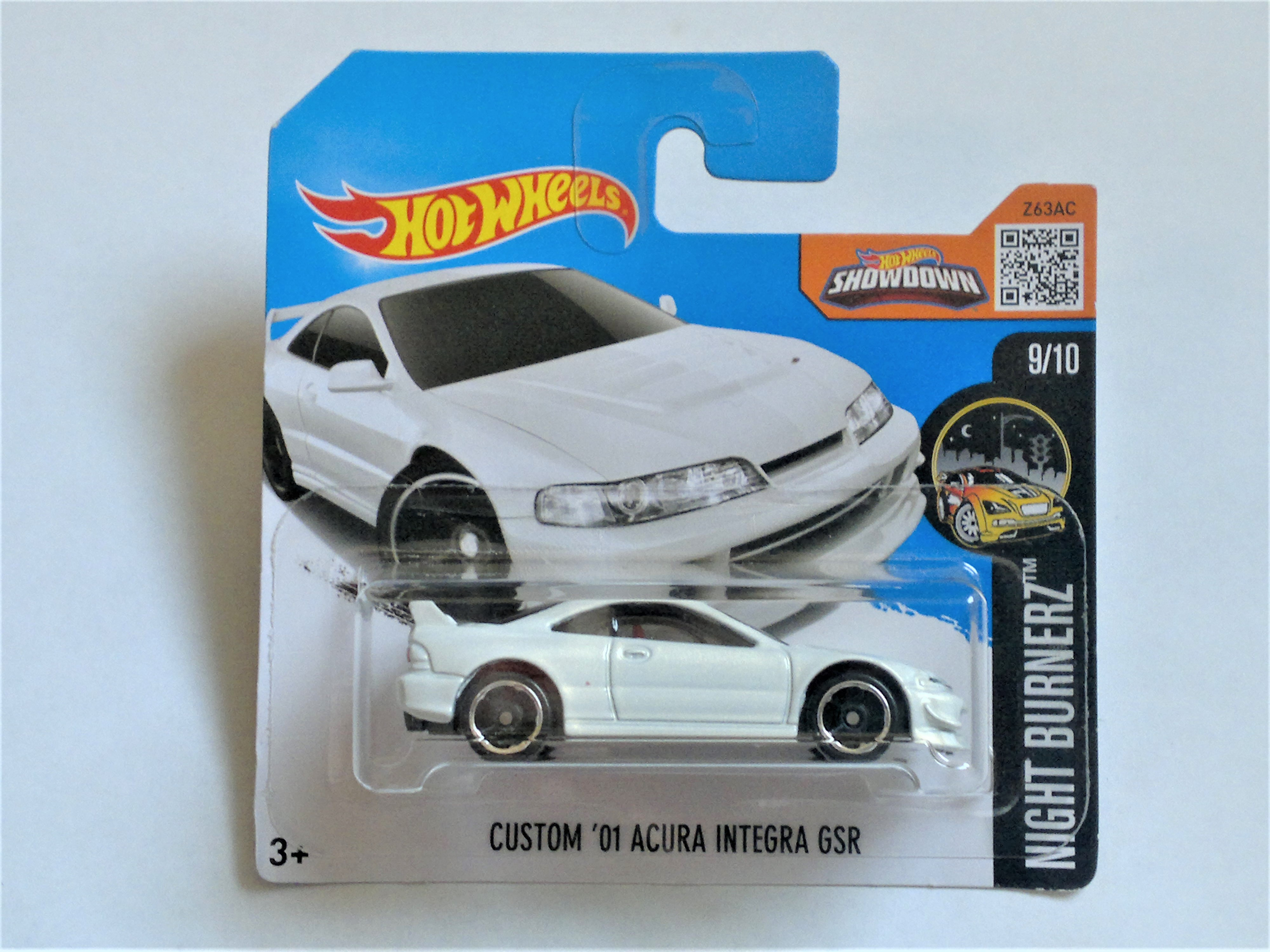 Hot Wheels 2001 Acura Custom Integra Gsr Coupe 9 10 Nightburnerz White Contemporary Manufacture Diecast Toy Vehicles