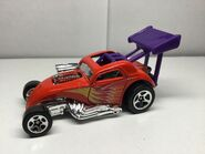 Hot Wheels 2001 50072 Hot Rods 5-Pack Fiat 500C Dragster red,Purple wing Yellow Purple And Silver Flame Design 5SP wheels Thailand a