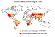 World distribution of plague 1998