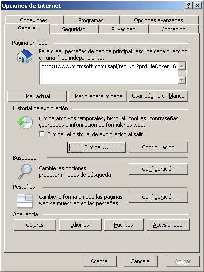 MSIE8 Opciones de internet general eliminar