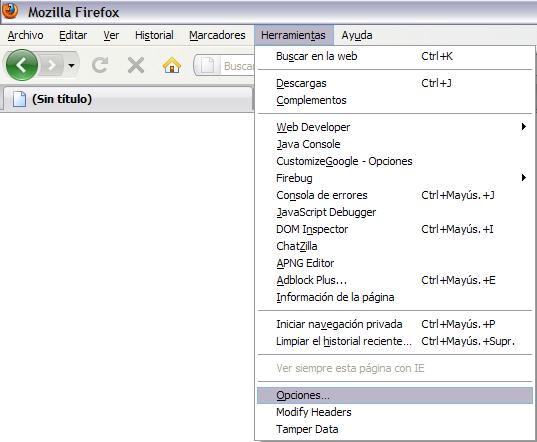 Firefox3Win Menú opciones