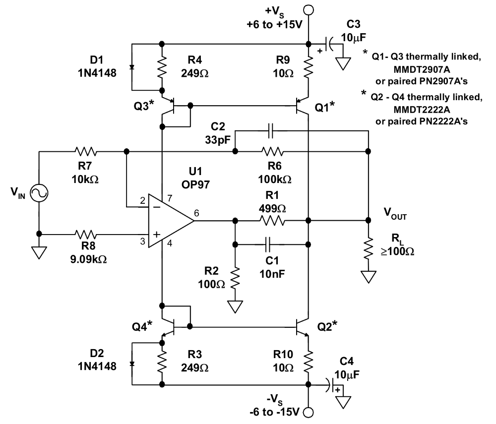 Op-amp voltage booster schematic 30Vpp