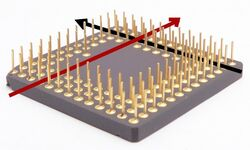 Pin grid array straghtening pins w knife