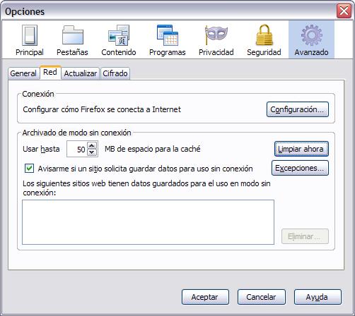 Firefox3Win Opciones limpiar cache