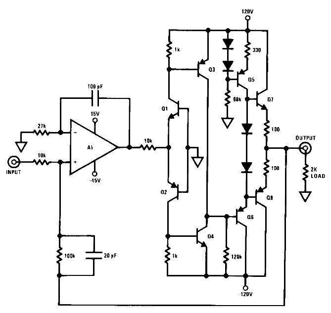 Op-amp voltage booster 240Vpp