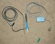 Homemade-100x-oscilloscope-probe-and-commercial-10x-probe