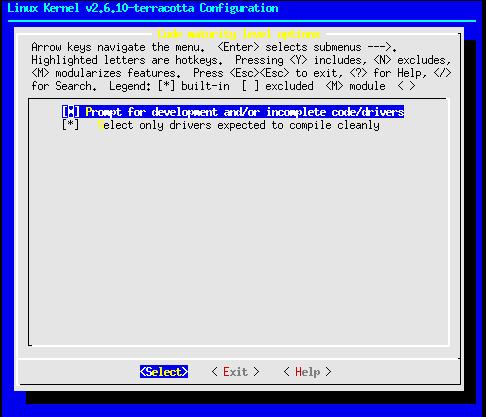 Linux-2.6.10-menuconfig--code-matureity