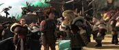 Astrid poking the button on Hiccup's flight suit