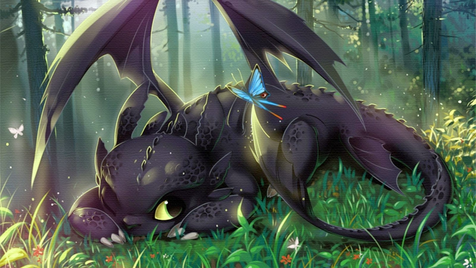Fb125 How To Train Your Dragon 2 Toothless Cute Art Wallpaper