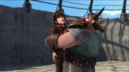 Stoick hugging Hiccup