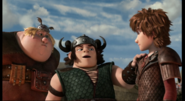 Out of the frying pan scene, Hiccup, Fishlegs and Snotlout