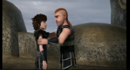 Out of the frying pan scene, Hiccup and Throk 2