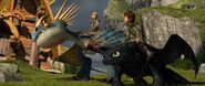 Astrid and Hiccup on their dragons 2