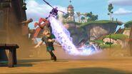 CU - The villagers avoiding the mechano-dragon's power blast