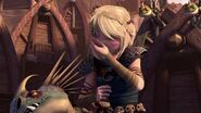 Astrid and Stormfly disgusted by Gobber's earwax