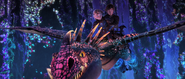 Astrid and Hiccup riding Stormfly exploring the hidden world