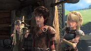 Astrid, Hiccup, and Tuffnut race to the edge