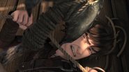 Hiccup defends with a rope