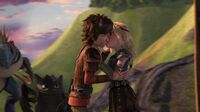 Hiccup and Astrid starting to kiss Mi Amore