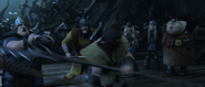 One of Drago's men attempt to take out Eret with a tranquilizer