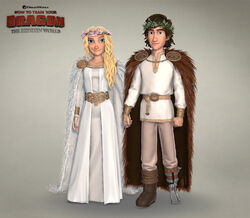Astrid and Hiccup in wedding attire