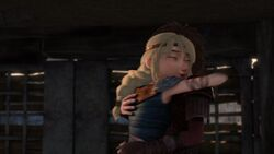Astrid and Hiccup hugging