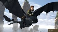 Hiccup rides Toothless HTTYD
