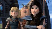Astrid, heather and fishlegs responding to Hiccup