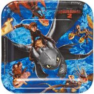 How to Train Your Dragon 9 Square Plates, 8 Count, Party Supplies