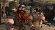 Stoick and Gobber having seen Hiccup land in the forest